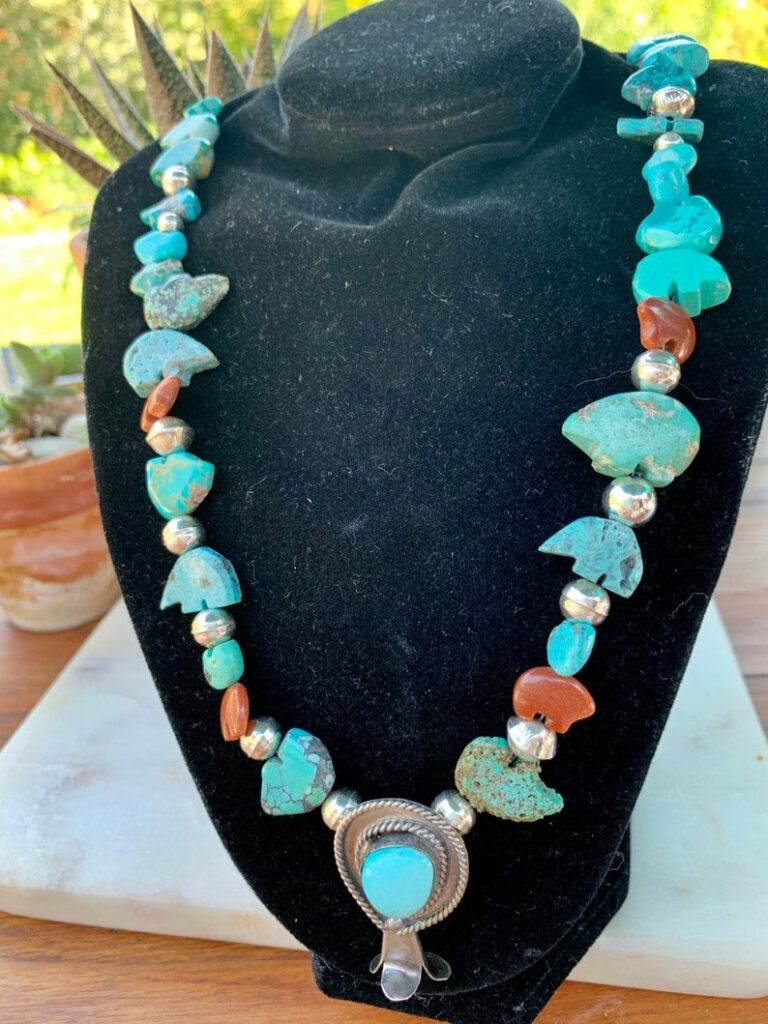 Turquoise Bear Fetishes with Squash Blossom and Sterling Silver Beads